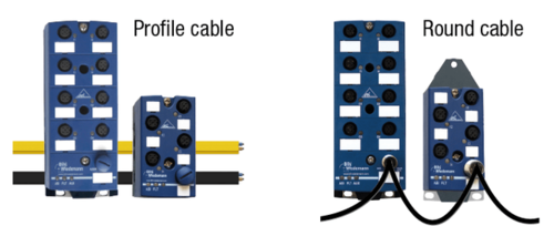Connection to AS-i with profile cable and round cable